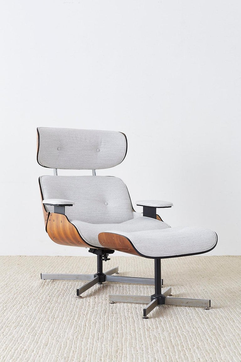 Hand-Crafted Eames Style Lounge Chair and Ottoman by Plycraft For Sale