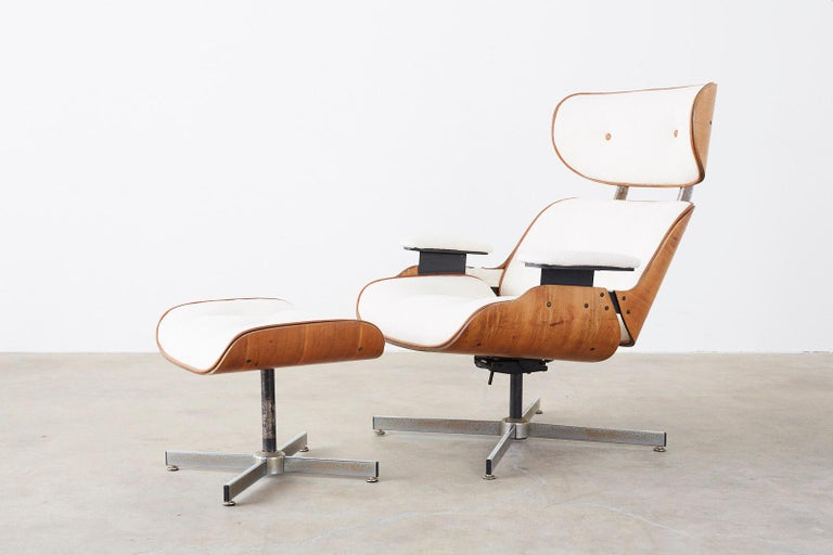 Eames Styles Lounge Chair and Ottoman by Plycraft For Sale 2
