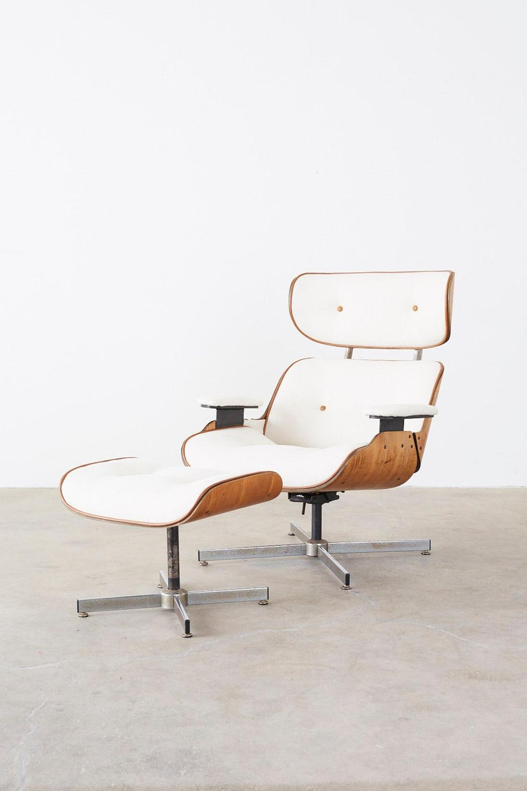Eames Styles Lounge Chair and Ottoman by Plycraft For Sale 4