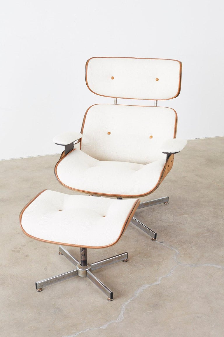 Eames Styles Lounge Chair and Ottoman by Plycraft For Sale 6