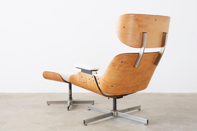 Eames Styles Lounge Chair and Ottoman by Plycraft For Sale 8