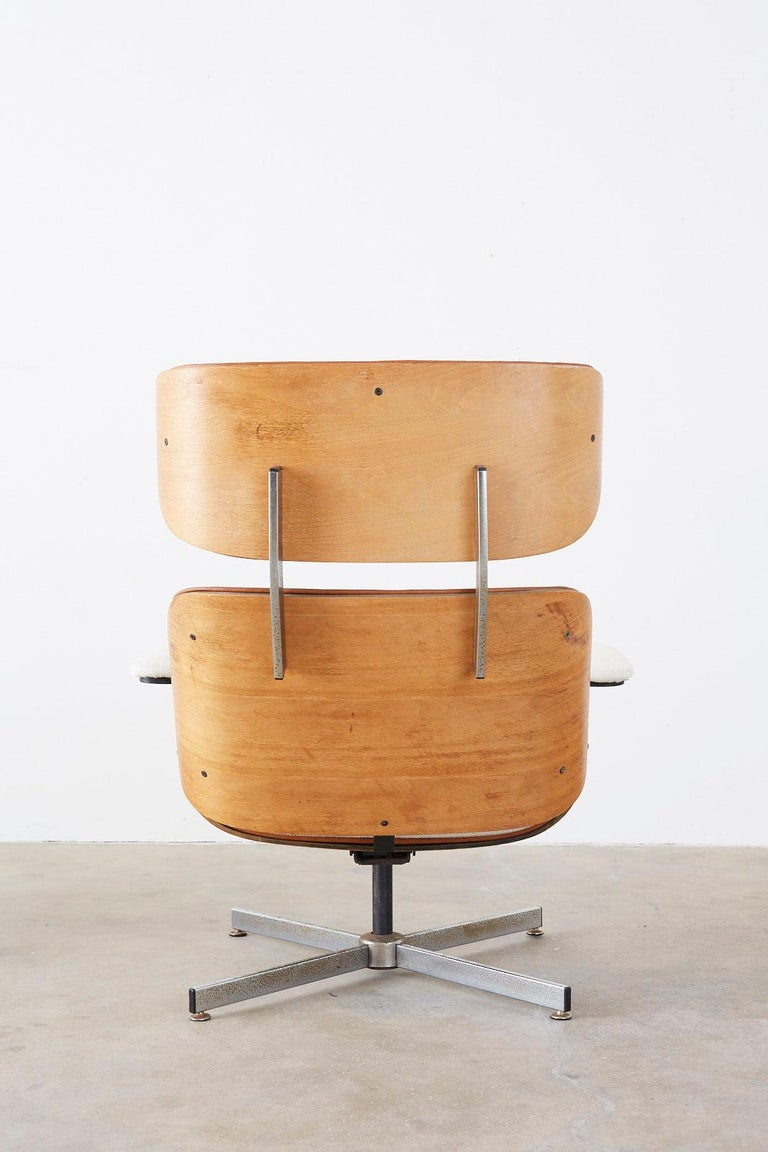 Eames Styles Lounge Chair and Ottoman by Plycraft For Sale 12