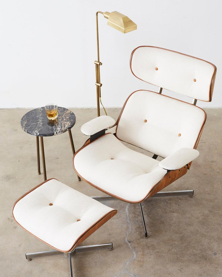 Mid-Century Modern Eames Styles Lounge Chair and Ottoman by Plycraft For Sale