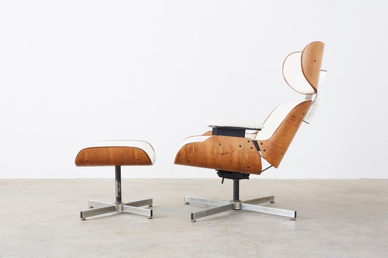 American Eames Styles Lounge Chair and Ottoman by Plycraft For Sale