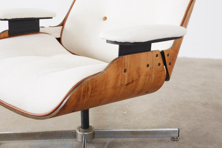 Hand-Crafted Eames Styles Lounge Chair and Ottoman by Plycraft For Sale