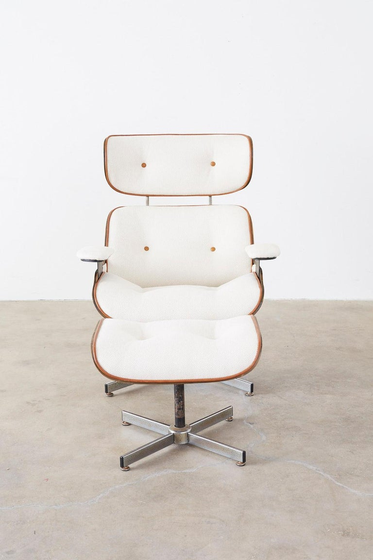 Metal Eames Styles Lounge Chair and Ottoman by Plycraft For Sale
