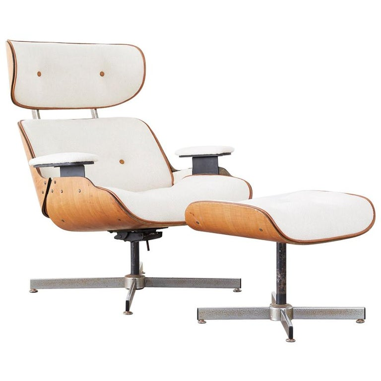 Eames Styles Lounge Chair and Ottoman by Plycraft For Sale