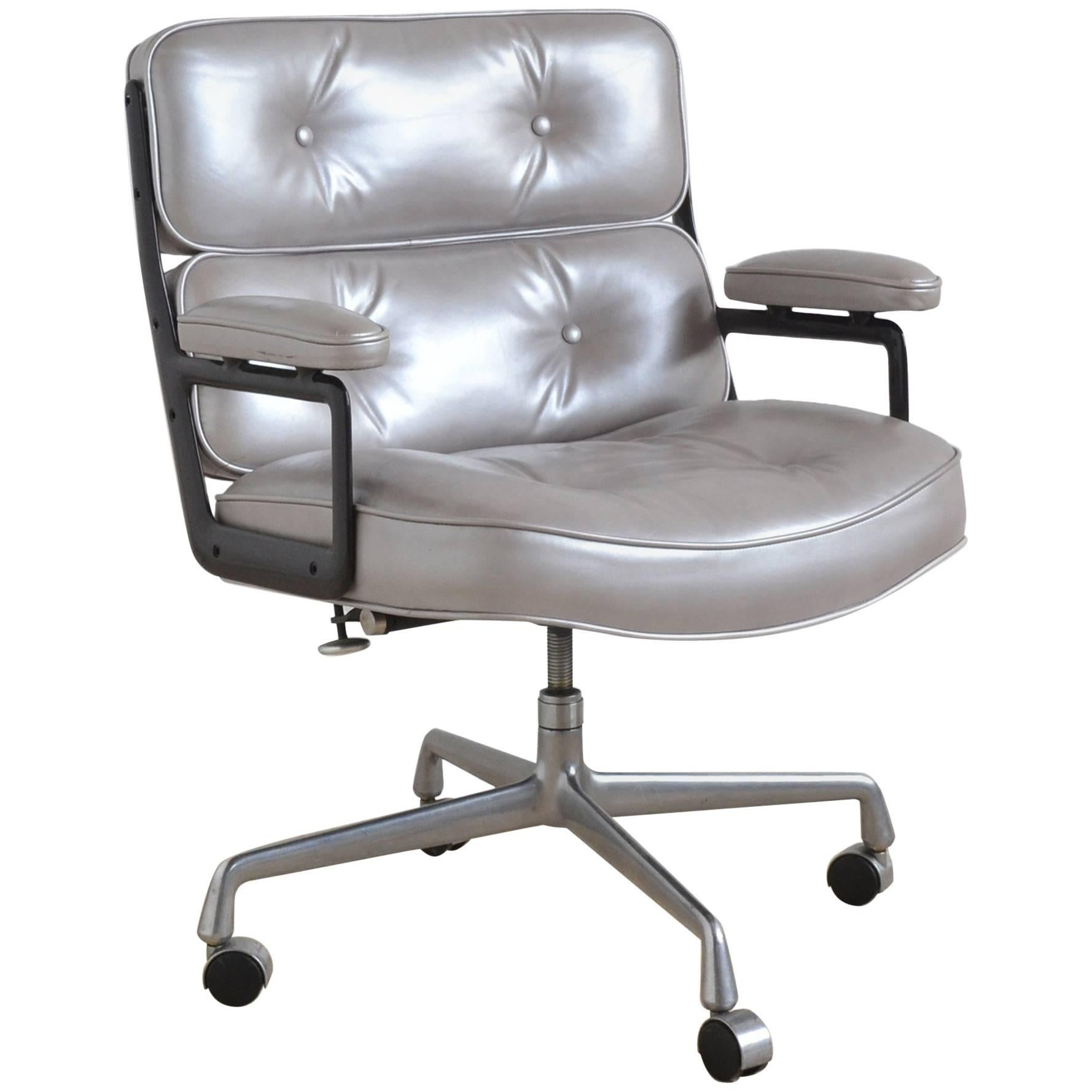 Eames Time-Life Chair by Herman Miller with Silver Leather