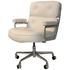 Eames Time Life Executive Chairs for Herman Miller, White Leather