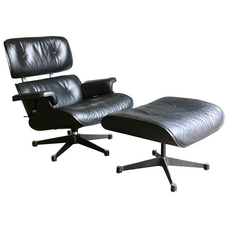 Eames Vitra 670 and 671 Black Nero Leather Lounger and Footstool in Black Ash For Sale