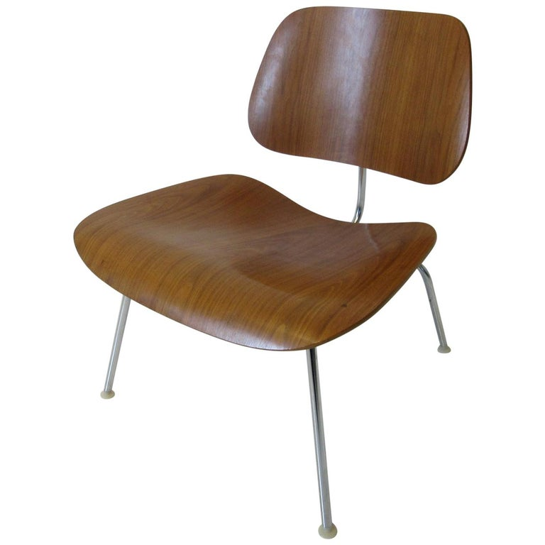 Eames Walnut LCM Lounge Chair with Chrome Frame for Herman Miller 'A' For Sale