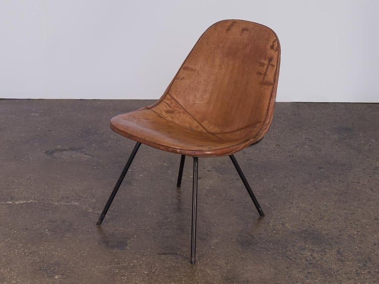Mid-Century Modern Eames Wire Chair with Leather Covering