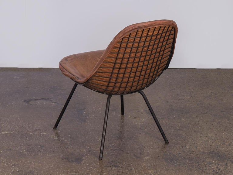 American Eames Wire Chair with Leather Covering For Sale