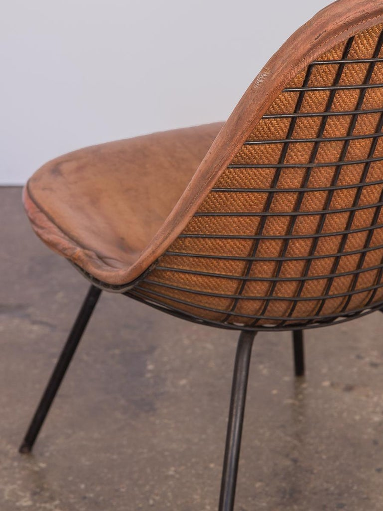 Eames Wire Chair with Leather Covering In Good Condition For Sale In Brooklyn, NY