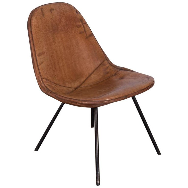 Eames Wire Chair with Leather Covering For Sale