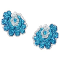 Ear Clips Crafted in Titanium and Paraiba Tourmaline, Blue Topaz Diamonds