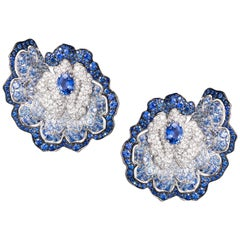 Ear Clips Earrings Crafted in White Gold with Blue Sapphire and White Diamonds