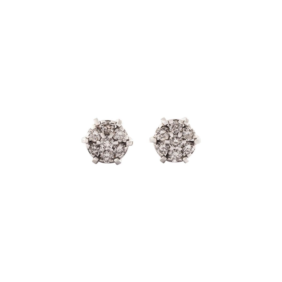 Ear Studs Earrings Diamond White Gold