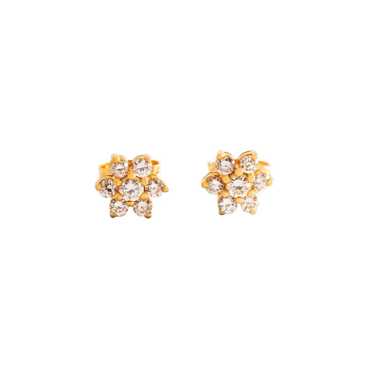 Ear Studs Earrings Diamond Yellow Gold