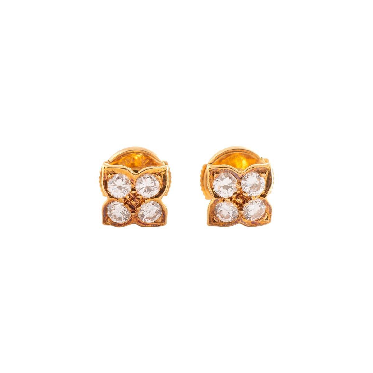 Ear Studs Earrings Floral Diamond Yellow Gold