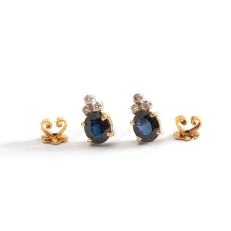 Aesthetic Movement Ear Studs Earrings Sapphire Diamond Yellow Gold For Sale