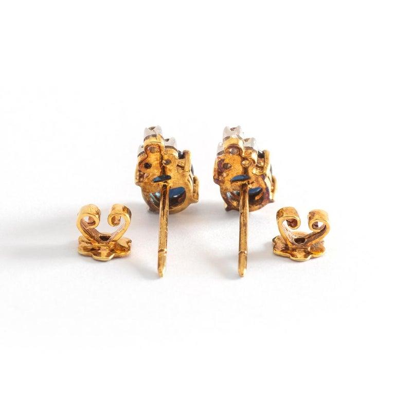 Oval Cut Ear Studs Earrings Sapphire Diamond Yellow Gold For Sale