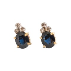 Ear Studs Earrings Sapphire Diamond Yellow Gold