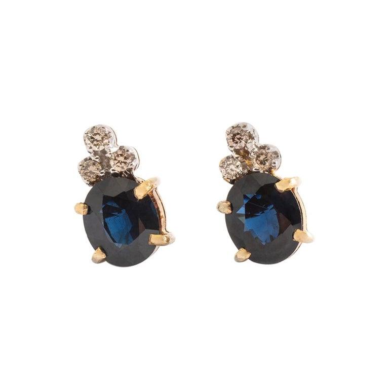 Ear Studs Earrings Sapphire Diamond Yellow Gold For Sale