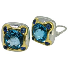 Earclips, White Gold, Yellow Gold, Topaz, Sapphire