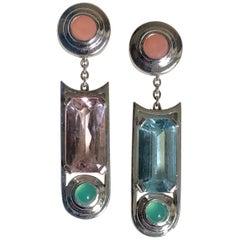 Earings 1 Aquamarine 1 Morganite 4 Cabs Coral and Chryso Gold 18 Karat