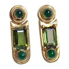 Earings 2 Tourmalines 4 Cabochons Emerald Gold 18 Karat