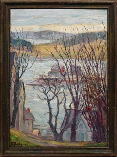 Antique Canadian Modernist Lunenburg Harbor Nova Scotia Seascape Oil Painting