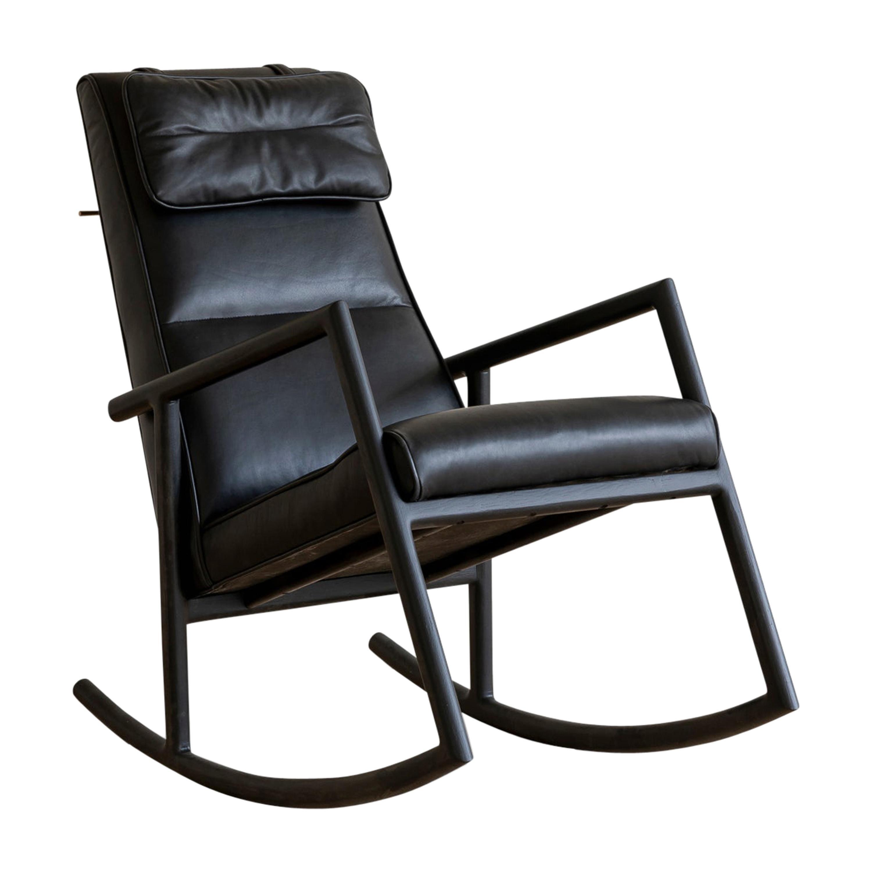 Earl Ebonized Oak, Black Leather Moresby Rocking Chair