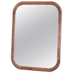 Earl Hand Crafted Rounded Rectangle Solid Walnut Mirror