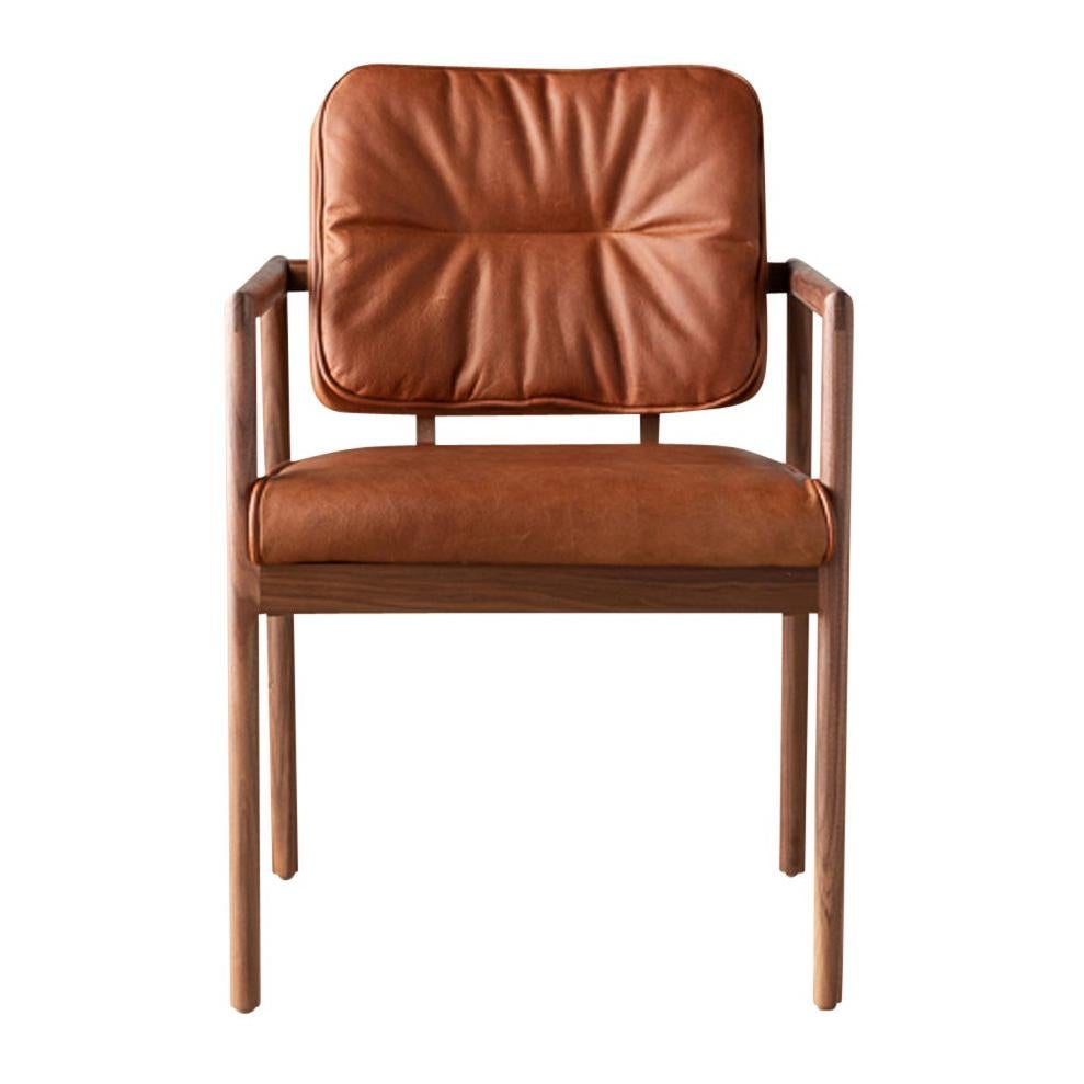 Earl Hand Crafted Walnut Custom Upholstered Moresby Captain Chair