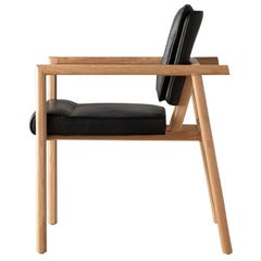 Earl Hand Crafted White Oak, Black Leather Moresby Captain Chair