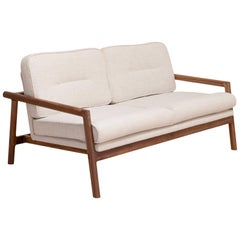 EARL Handcrafted Walnut Moresby Loveseat with Custom Linen or Leather Upholstery