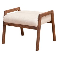 Earl Handcrafted Walnut Moresby Ottoman with Custom Linen or Leather Upholstery