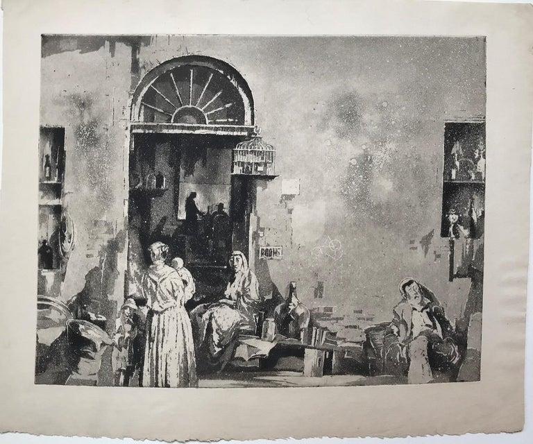 Junk Shop (Philadelphia) - Gray Landscape Print by Earl Horter