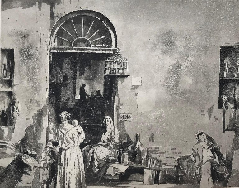 Junk Shop (Philadelphia). 1932. Aquatint. 10 1/16 x 13 (sheet 12 1/2 x 15 1/2). Awarded the Mr. and Mrs. Frank G. Logan 3rd prize, Art Institute of Chicago, March 24 - May 15, 1932. A subtle tonal impression printed on cream wove paper. Unsigned.