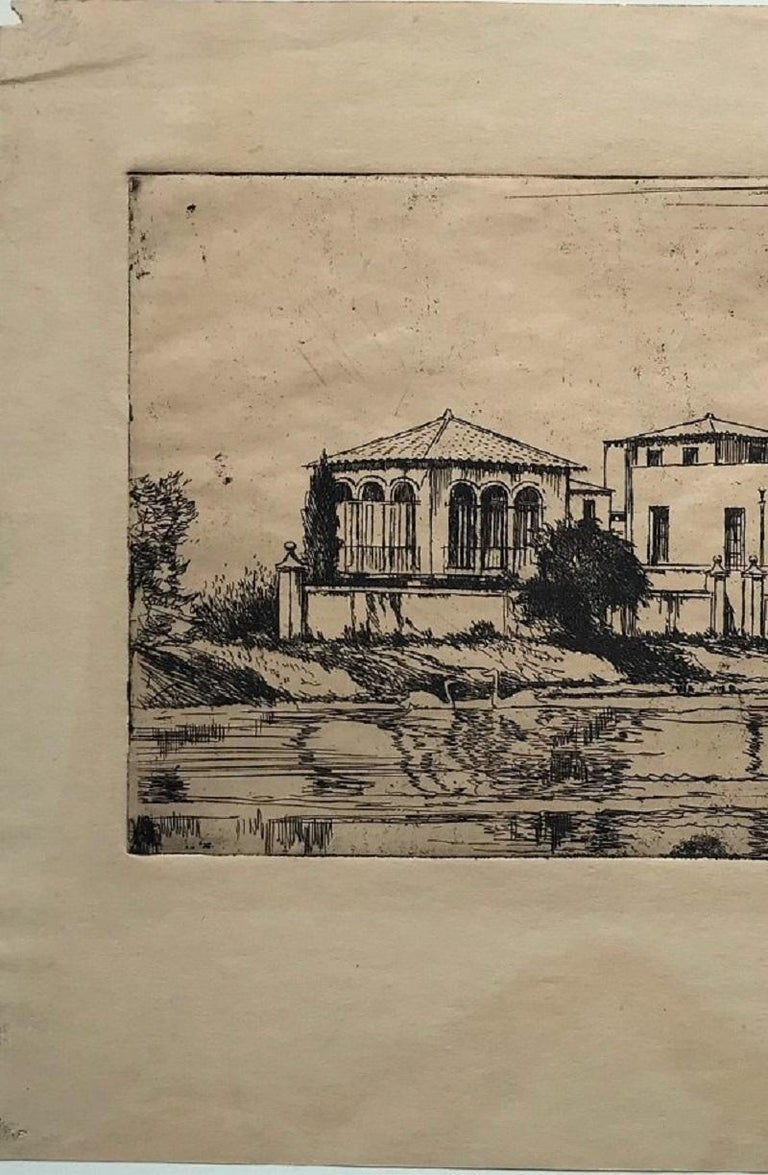 The Arthur Williams Estate. c. 1916. Etching and drypoint. 4 3/4 x 9 (sheet 8 x 10 7/8). A rich impression printed on dark cream wove paper. Water stain in the lower margin, well outside the image. Signed and annotated 'A Williams Home N. York