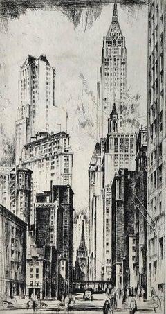 Wall Street and Trinity Church.