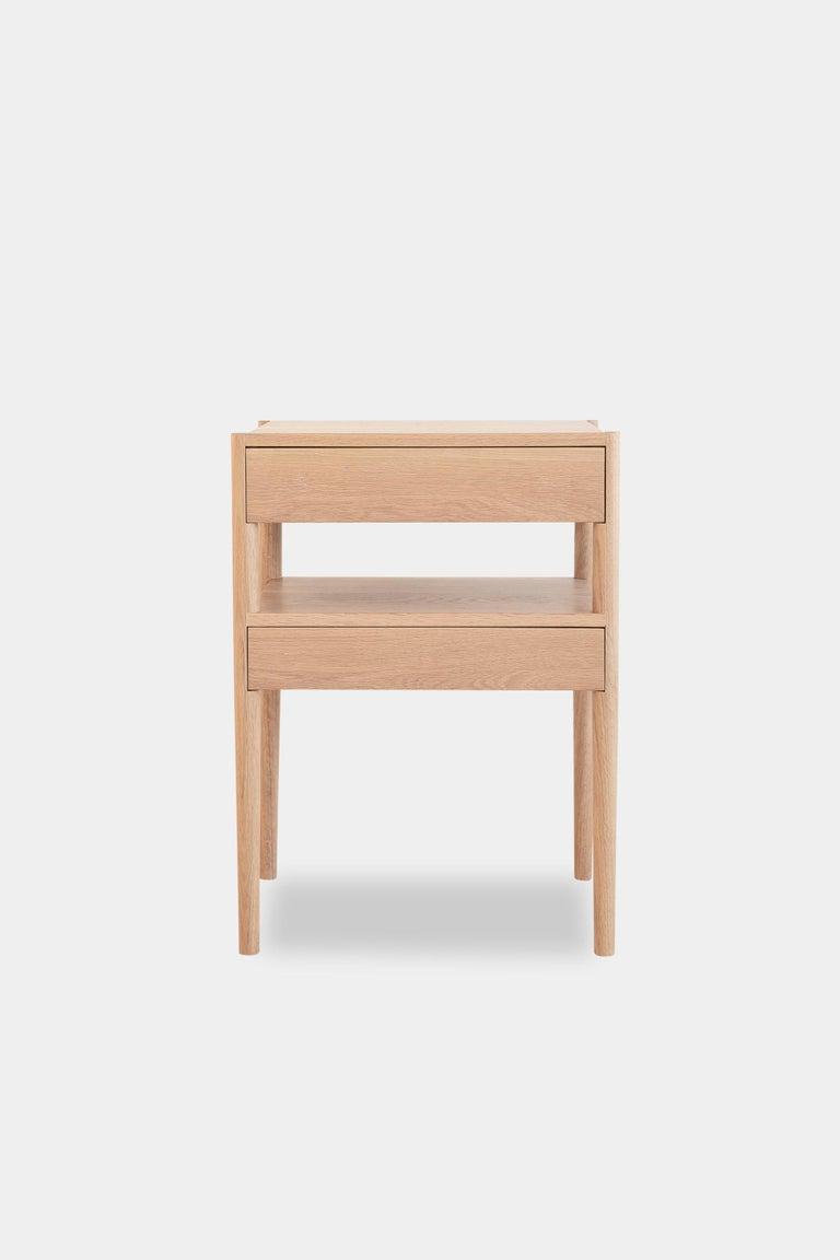 American Earl Mid-Century Modern White Oak Bedside Table For Sale