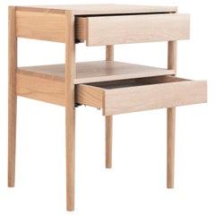 Earl Mid-Century Modern White Oak Bedside Table
