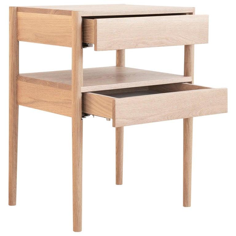 Earl Mid-Century Modern White Oak Bedside Table For Sale