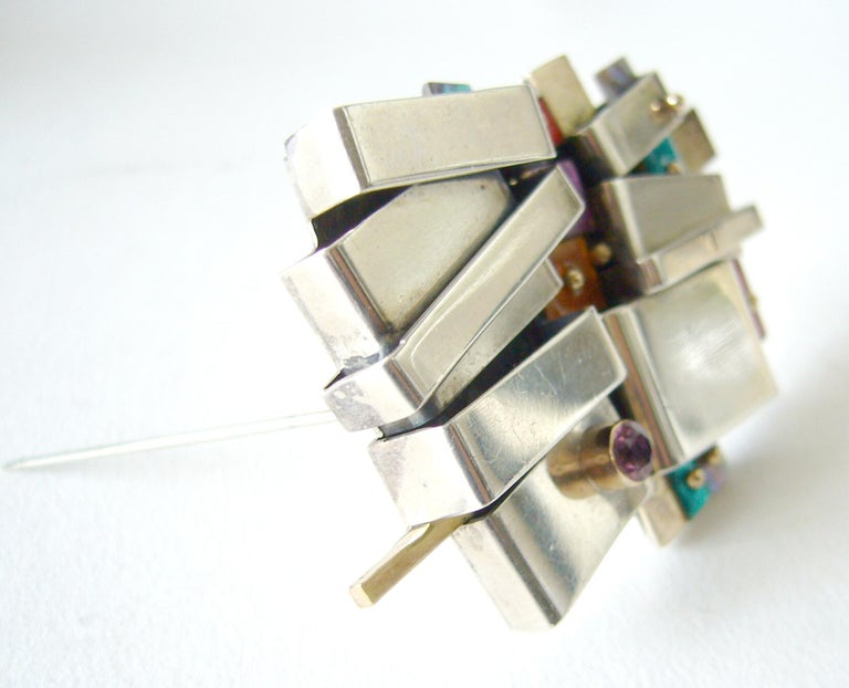 Modernist Earl Pardon Enamel Gemstone Sterling Silver Gold Brooch For Sale