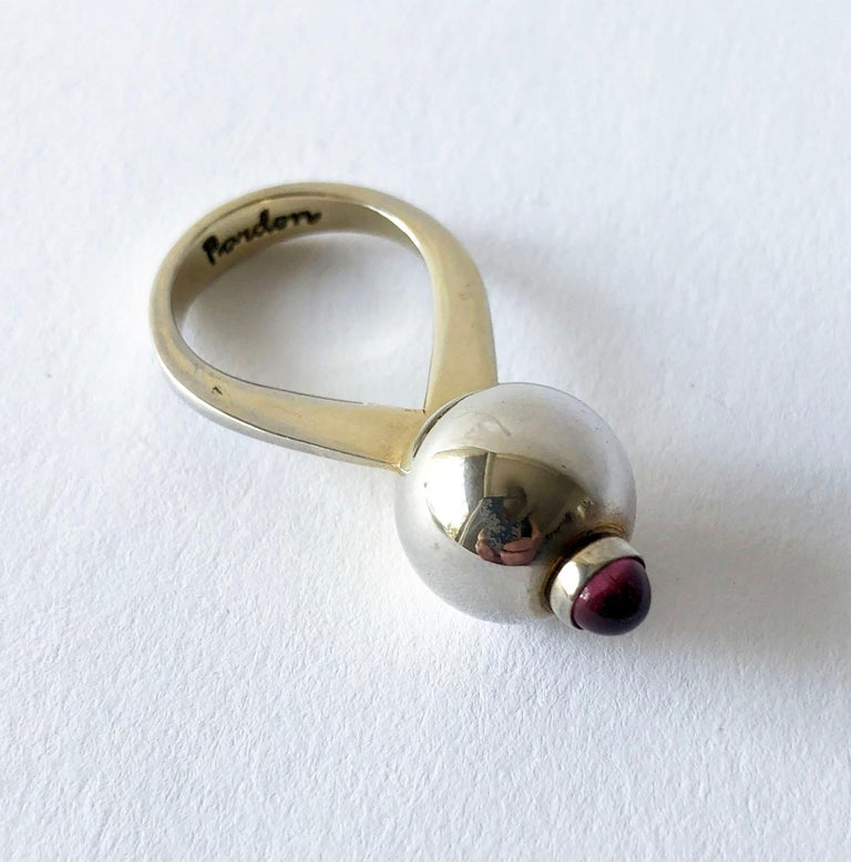 Bullet Cut Earl Pardon Sterling Silver Garnet Cocktail Dinner Ring For Sale