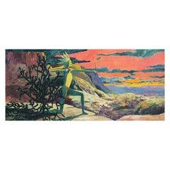 """(King), Shaman, Fool"" Monumental Contemporary Mythological Triptych Painting"