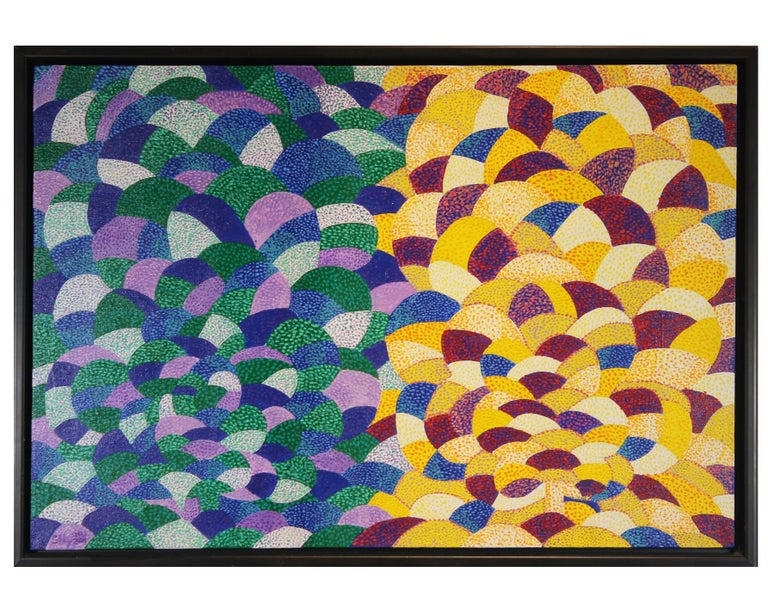 """Earl Staley Abstract Painting - """"Landscape Day and Night (Trees)"""" Pop Art Style Geometric Abstract"""
