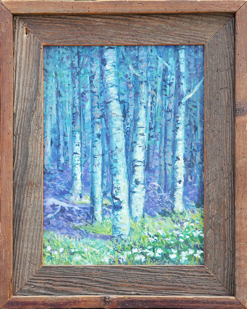 """""""New Mexico 13 Aspen Trees"""" Small Blue Toned Birch Tree Forest Landscape"""